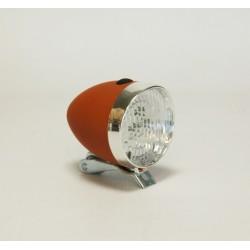 Lampa przód  brązowa retro na baterię z uchwytem