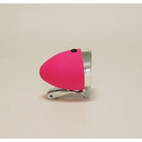 Lampa przód różowa retro na baterię z uchwytem