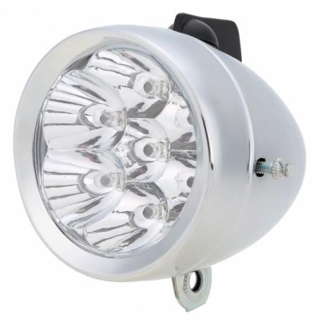 Lampa przód stalowa retro na baterię z uchwytem  duża