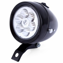 Lampa przód stalowa retro na baterię z uchwytem  duża czarna